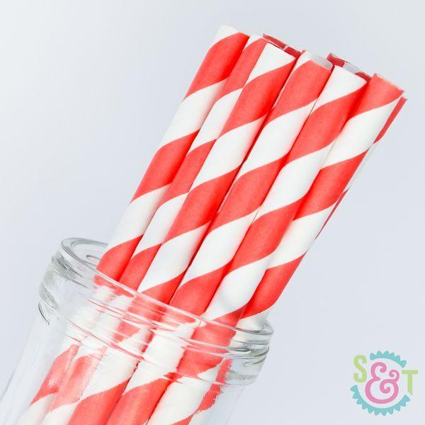 Stripe Paper Straws: Coral