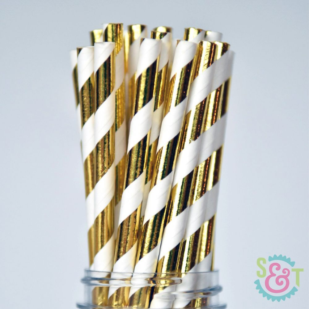 Stripe Paper Straws: Gold Foil