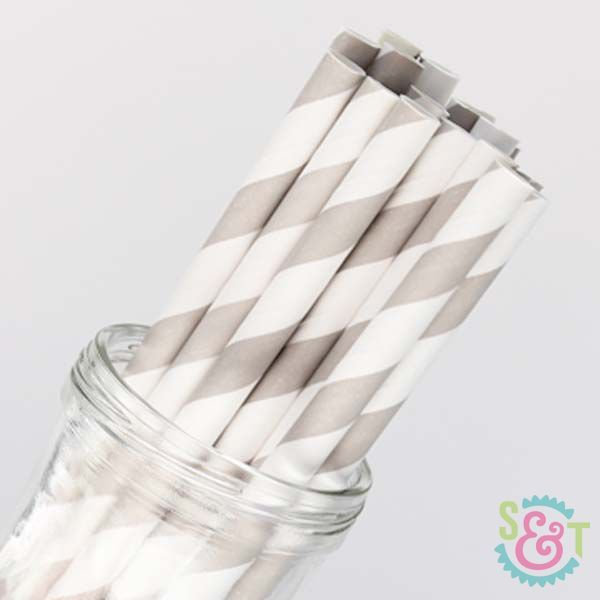 Stripe Paper Straws: Gray
