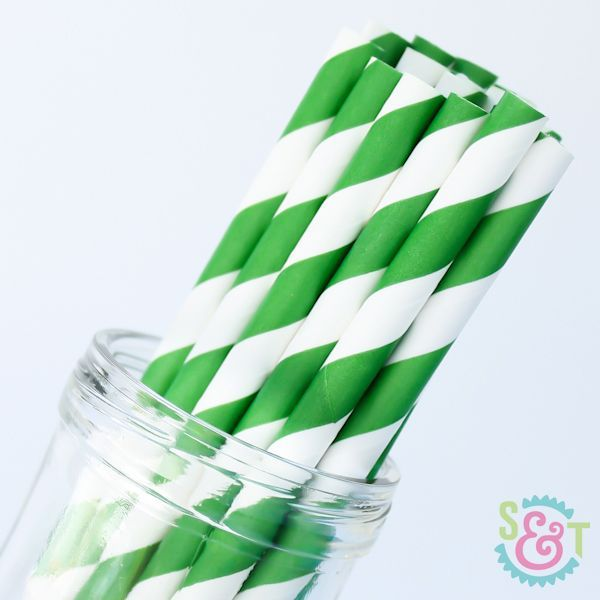 Stripe Paper Straws: Green