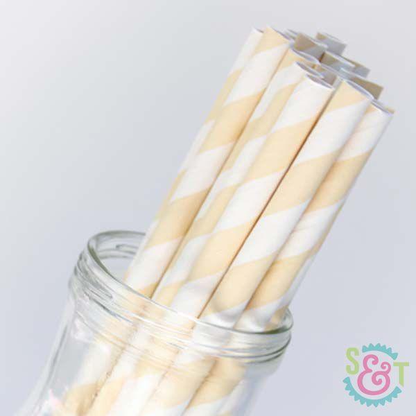 Stripe Paper Straws: Ivory