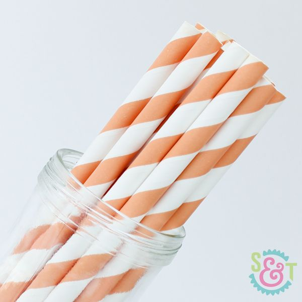 Stripe Paper Straws: Light Orange
