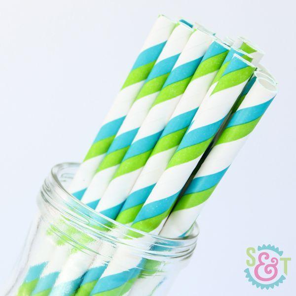 Stripe Paper Straws: Lime/Aqua