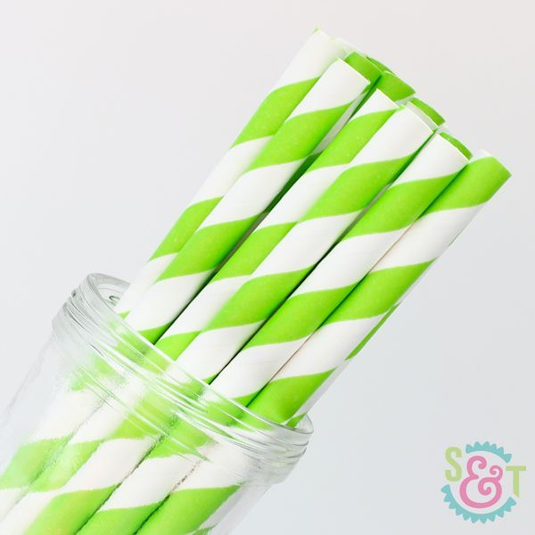 Stripe Paper Straws: Lime Green