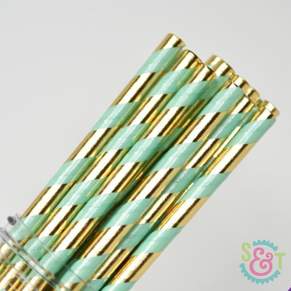 Stripe Paper Straws: Mint/Gold Foil
