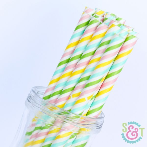 Stripe Paper Straws: Multi Pastel