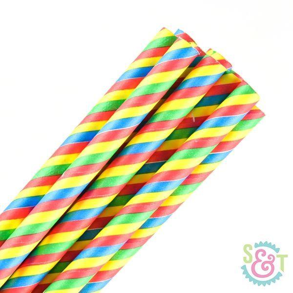 Stripe Paper Straws: Multi Primary
