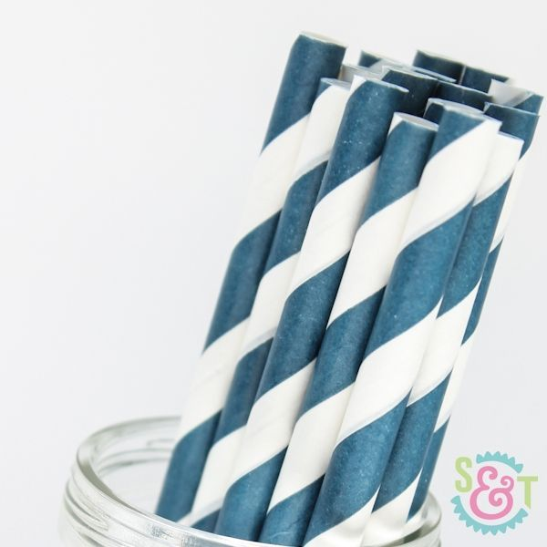 Stripe Paper Straws: Navy Blue