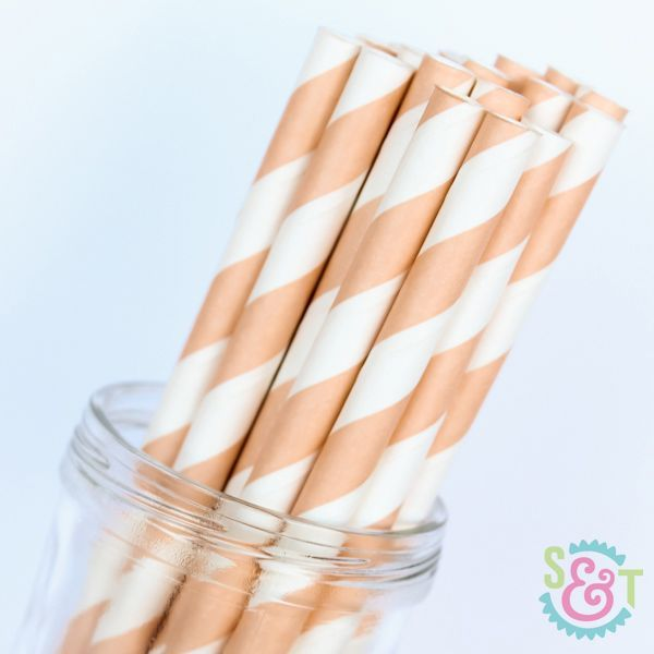 Stripe Paper Straws: Peach