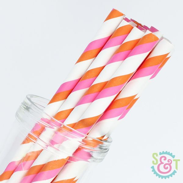 Stripe Paper Straws: Pink/Orange