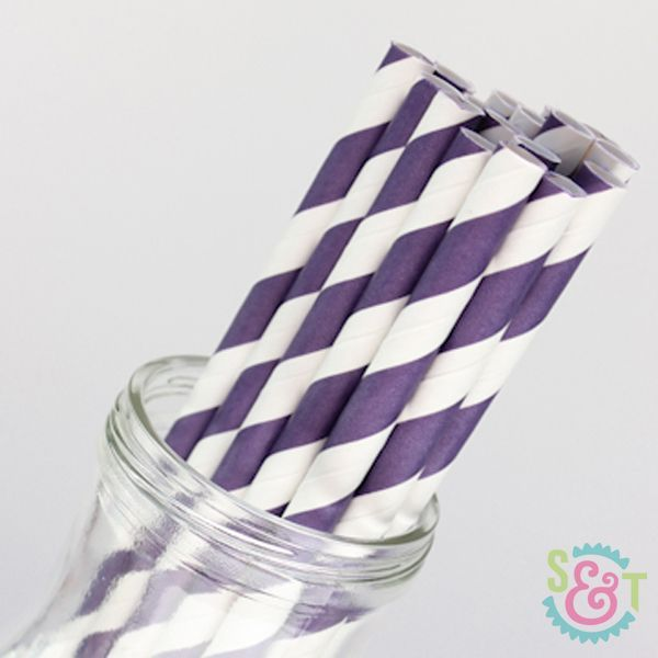 Stripe Paper Straws: Purple