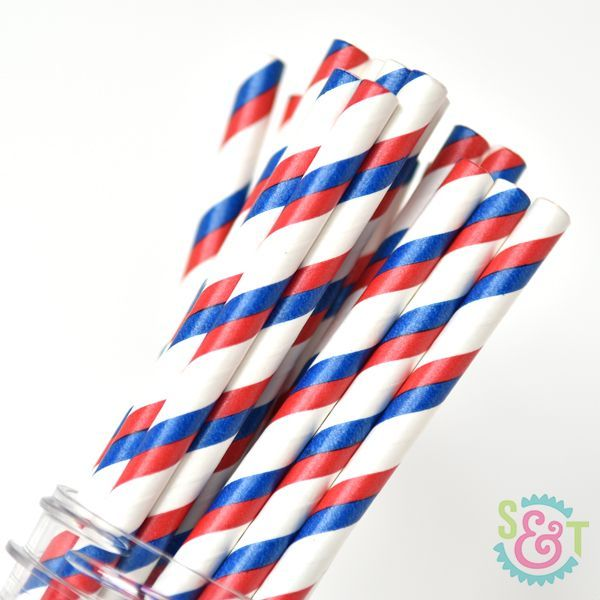 Stripe Paper Straws: Red/Blue