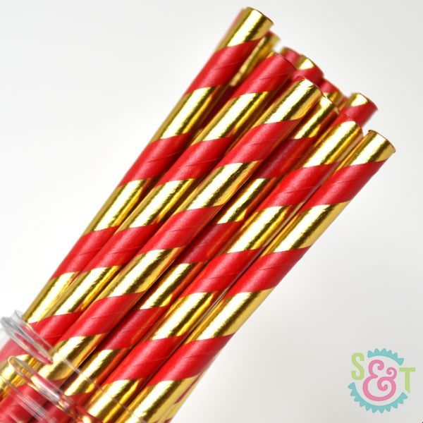 Stripe Paper Straws: Red/Gold Foil