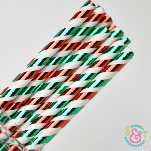 Stripe Paper Straws: Red/Green Foil
