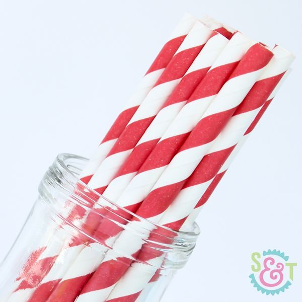 Stripe Paper Straws: Red