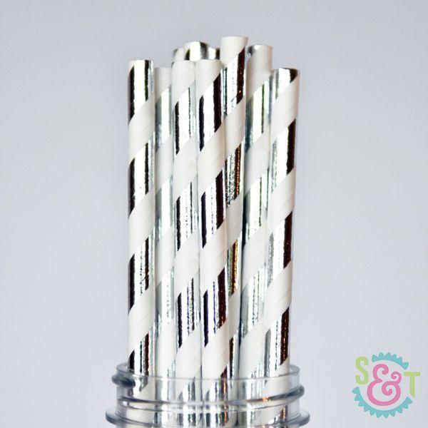 Stripe Paper Straws: Silver Foil