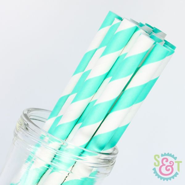 Stripe Paper Straws: Teal Green