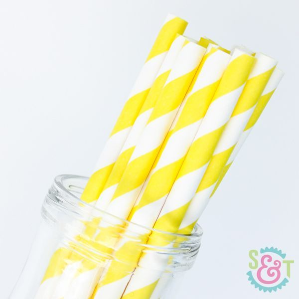 Stripe Paper Straws: Yellow