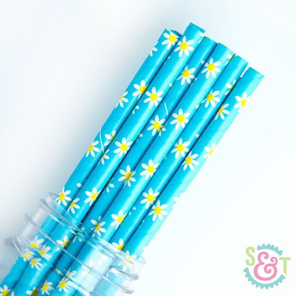 Floral Paper Straws: Daisy Light Blue
