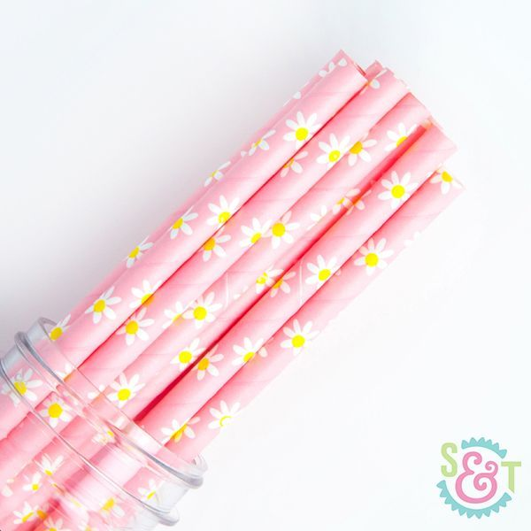 Floral Paper Straws: Daisy Light Pink
