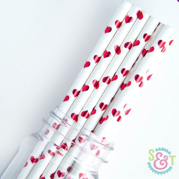 Heart Paper Straws: Red Foil