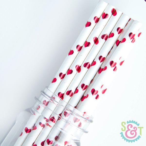 Red Foil Heart Paper Straws - Valentine Paper Straws