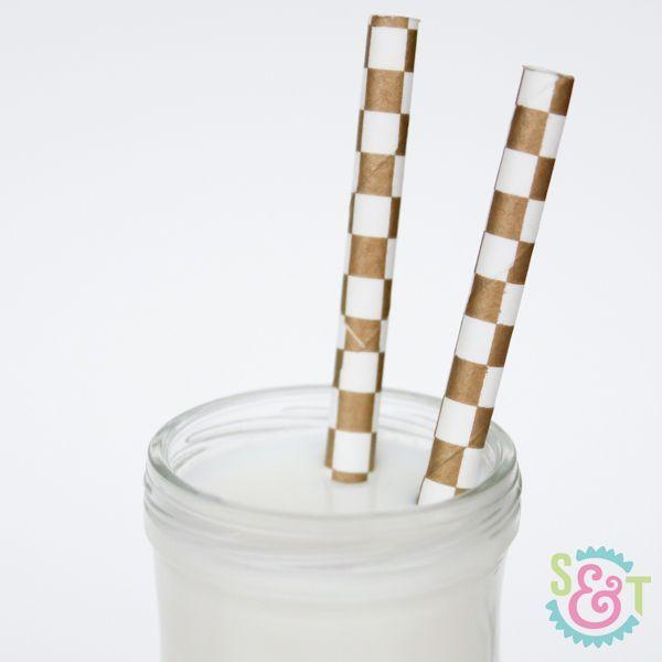 Gold Checkered Paper Straws - Gold Paper Straws