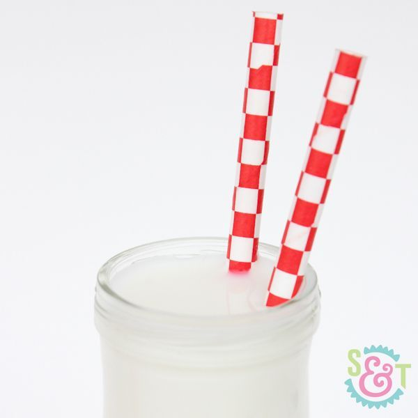 Red Checkered Paper Straws - Red Paper Straws