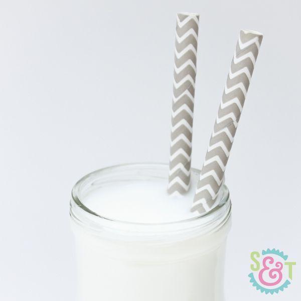 Gray Chevron Paper Straws - Gray Paper Straws