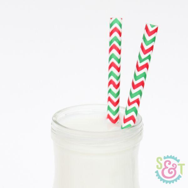 Red & Green Chevron Paper Straws - Christmas Paper Straws