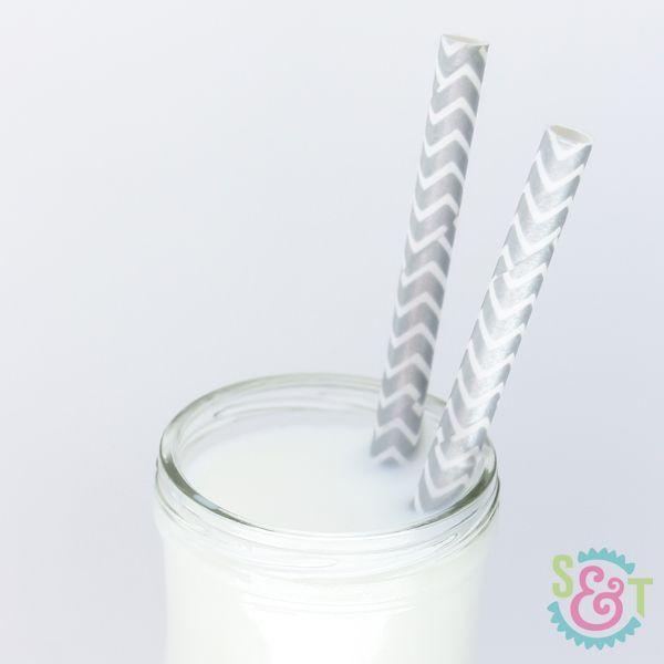 Silver Metallic Chevron Paper Straws - Silver Paper Straws