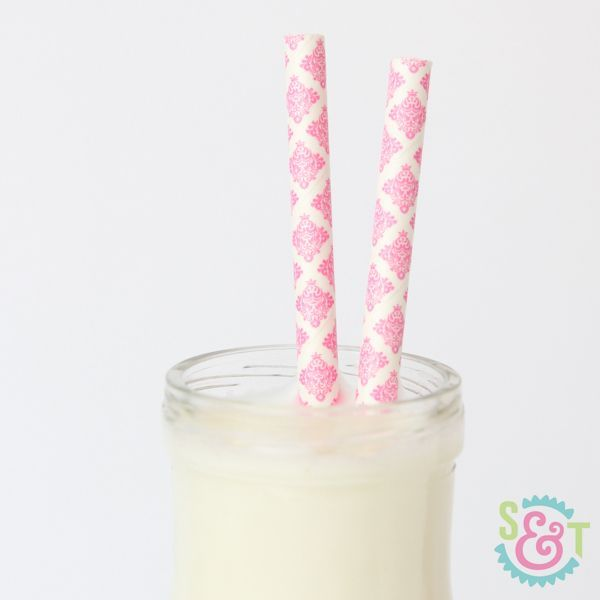 Damask Pink Paper Straws - Damask Paper Straws
