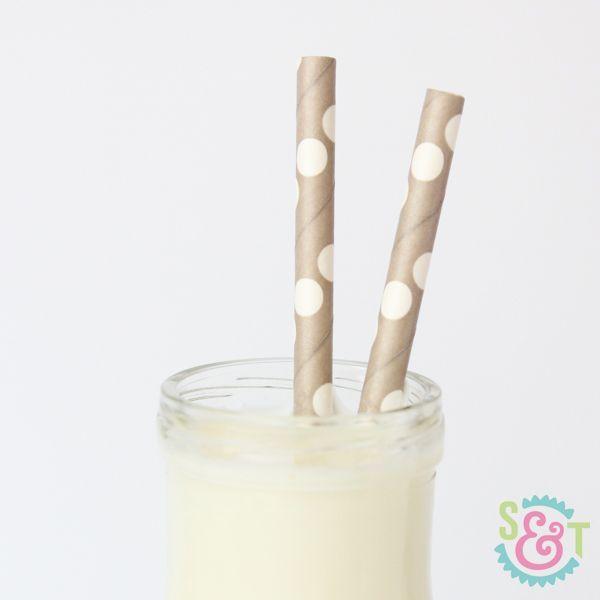 Gray Polka Dot Paper Straws - Gray Paper Straws