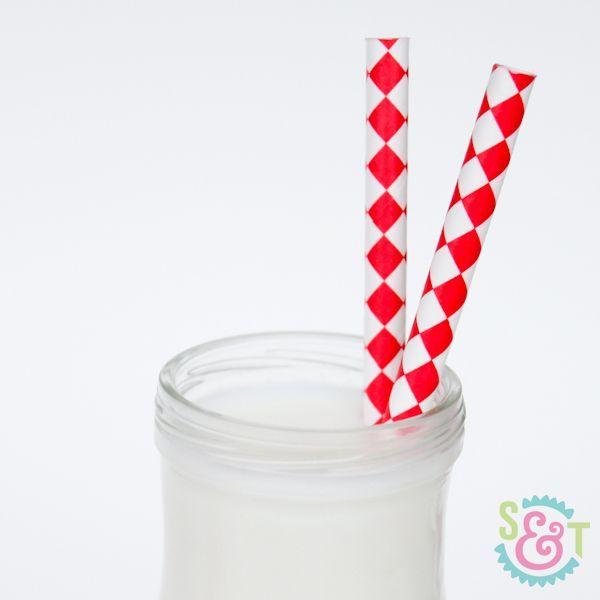 Harlequin Red Paper Straws - Diamond Paper Straws
