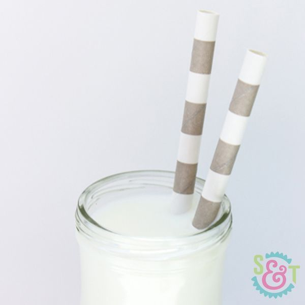 Gray Rugby Striped Paper Straws - Striped Paper Straws