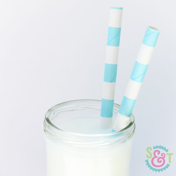Light Blue Rugby Striped Paper Straws - Striped Paper Straws