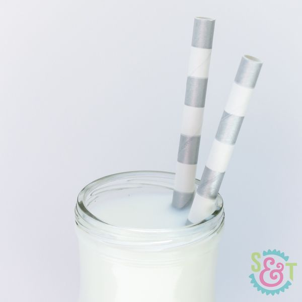 Silver Rugby Striped Paper Straws - Striped Paper Straws