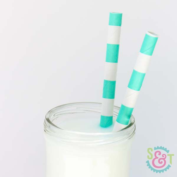 Teal Rugby Striped Paper Straws - Striped Paper Straws