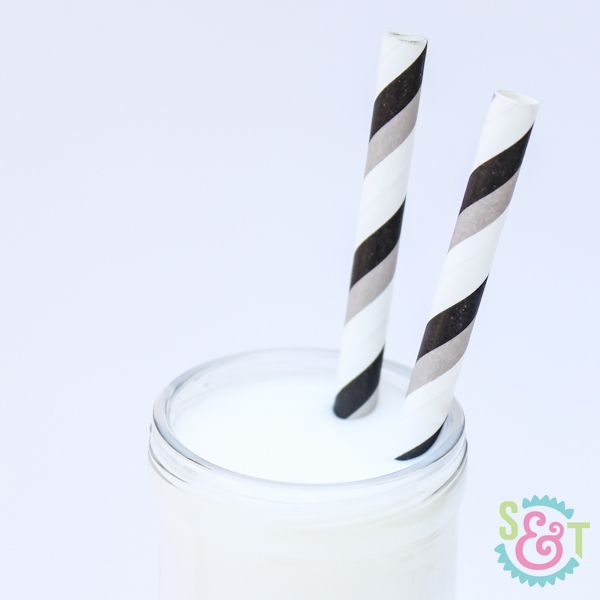 Black & Gray Striped Paper Straws - Black & Gray Paper Straws