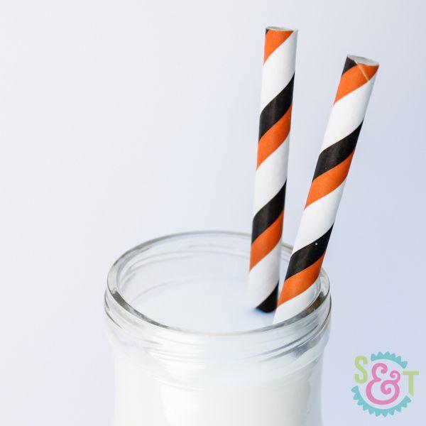 Black & Orange Striped Paper Straws - Halloween Paper Straws