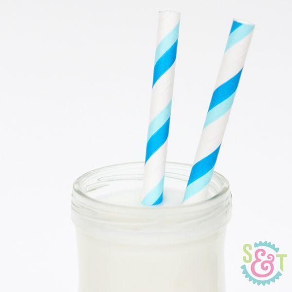 Blue & Light Blue Striped Paper Straws - Blue Paper Straws