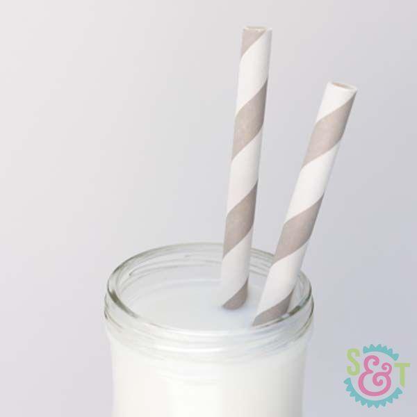 Gray Striped Paper Straws - Gray Paper Straws