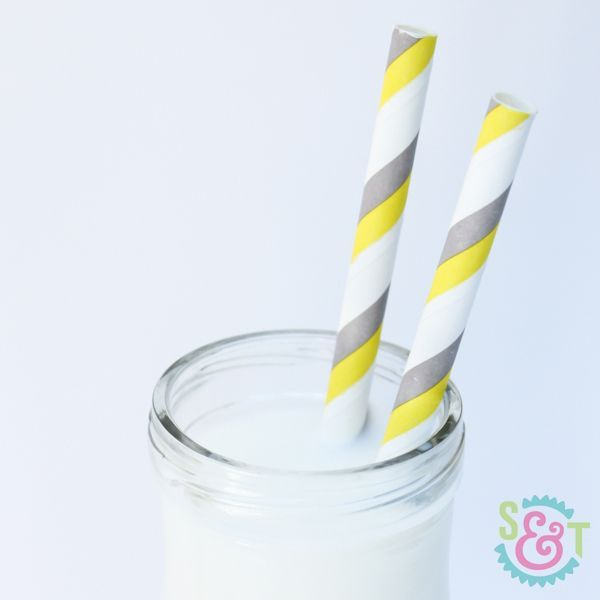 Gray & Yellow Striped Paper Straws - Gray & Yellow Paper Straws