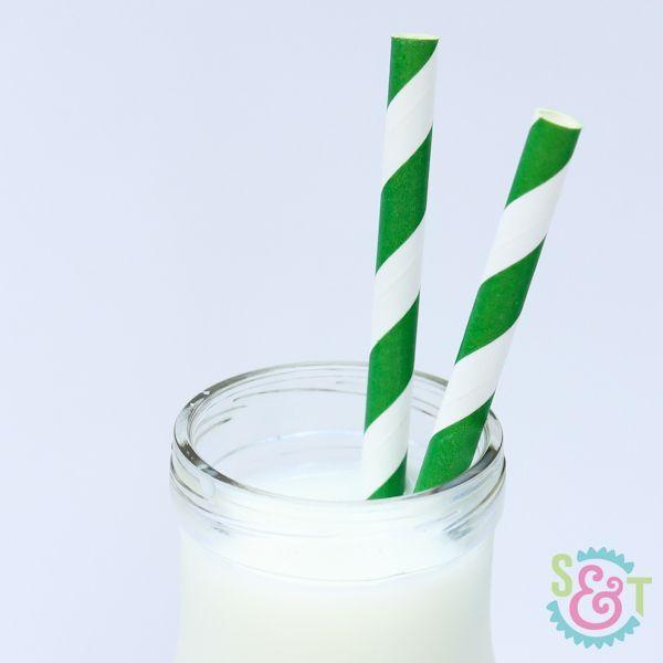 Green Striped Paper Straws - Green Paper Straws
