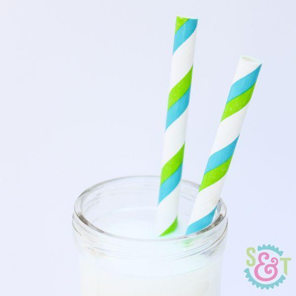 Lime & Aqua Striped Paper Straws - Lime Green Paper Straws