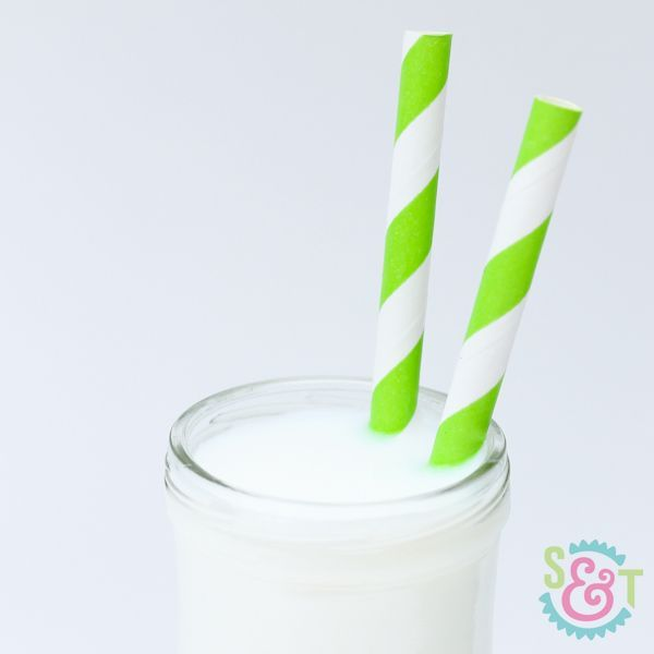 Lime Green Striped Paper Straws - Lime Paper Straws