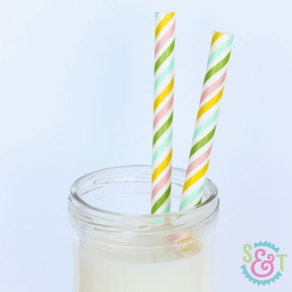 Multi Rainbow Pastel Striped Paper Party Straws - Easter Straws