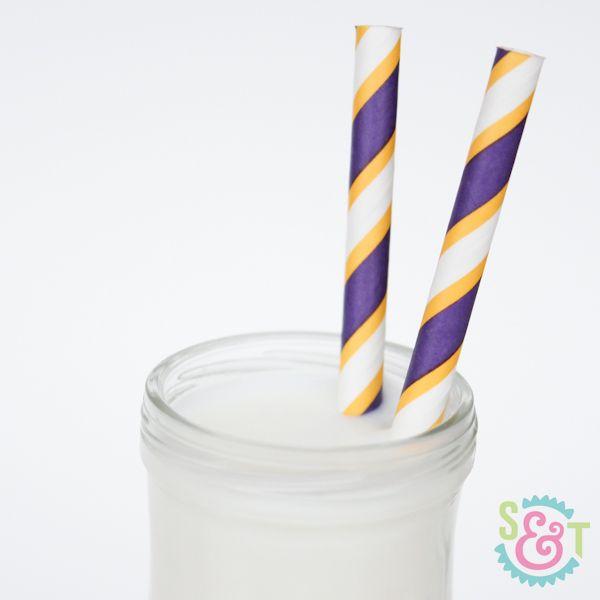 Purple & Yellow Striped Paper Straws - Purple & Yellow Paper Straws