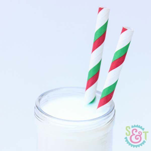 Red & Green Striped Paper Straws - Christmas Paper Straws