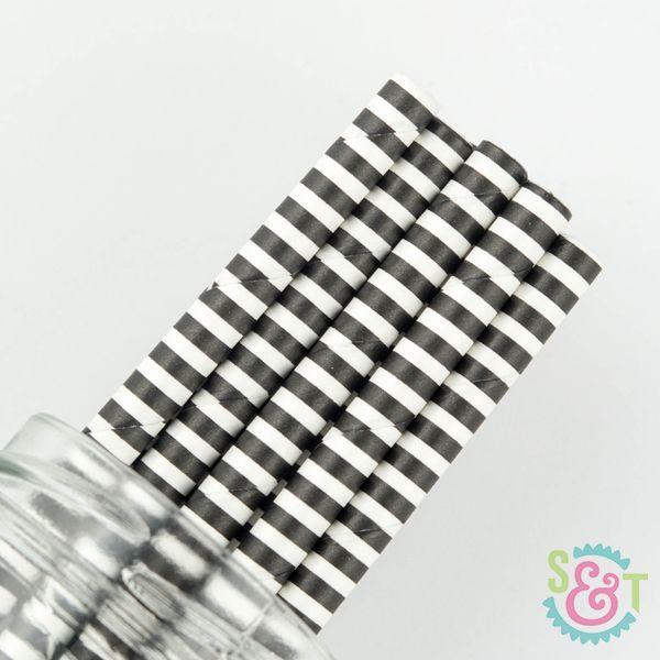Pinstripe Paper Straws: Black